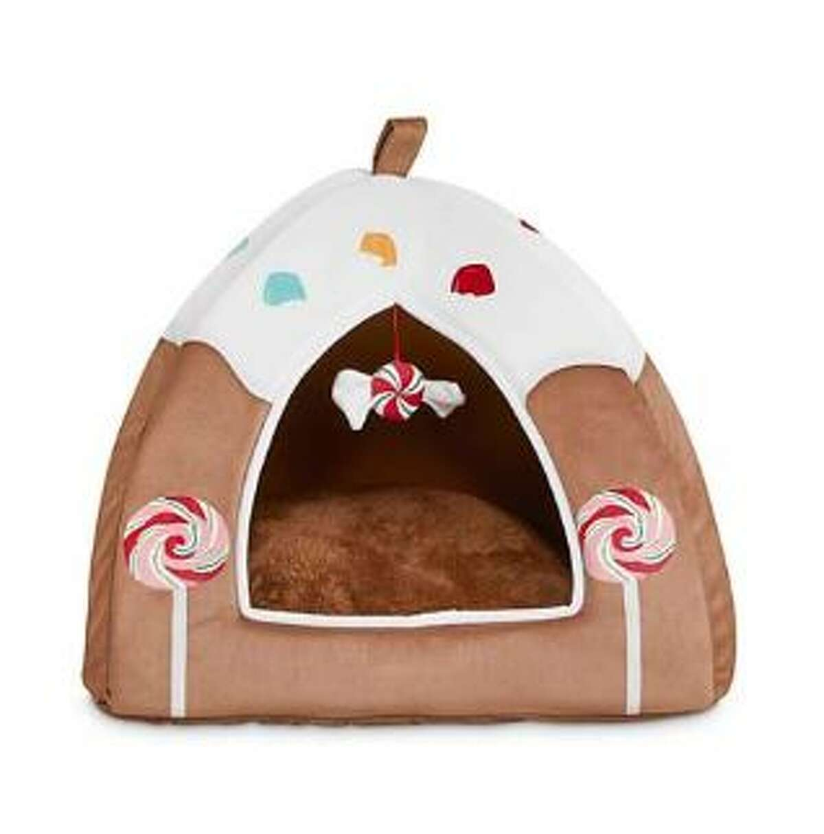 A gingerbread house cat bed from Petco: $15