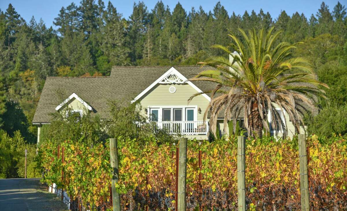 2618 Silverado Trail North is one of two homes occupying a .68-acre lot with a Cabernet vineyard.