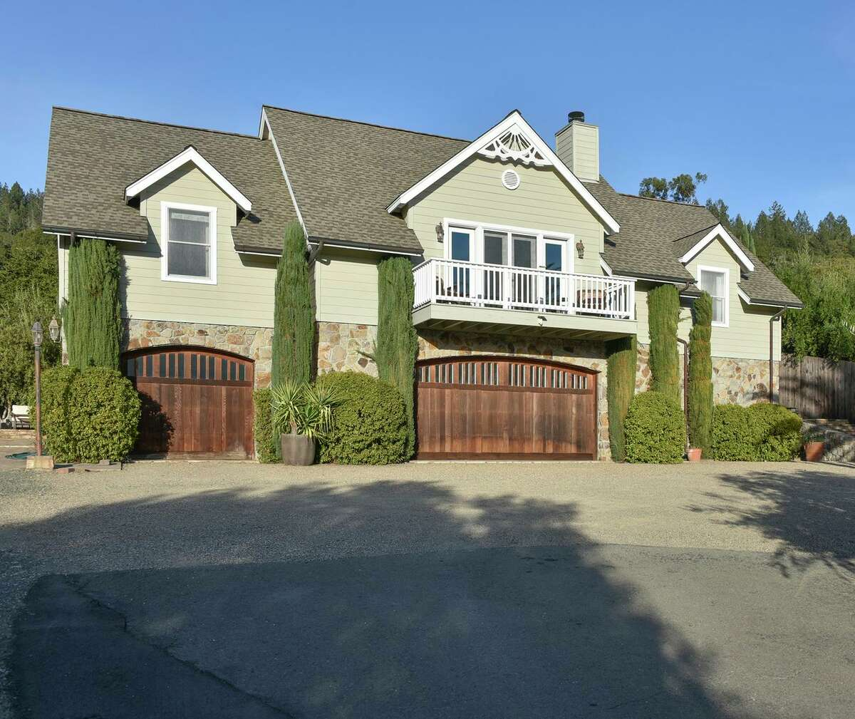 The two-bedroom main home features a two-car garage.