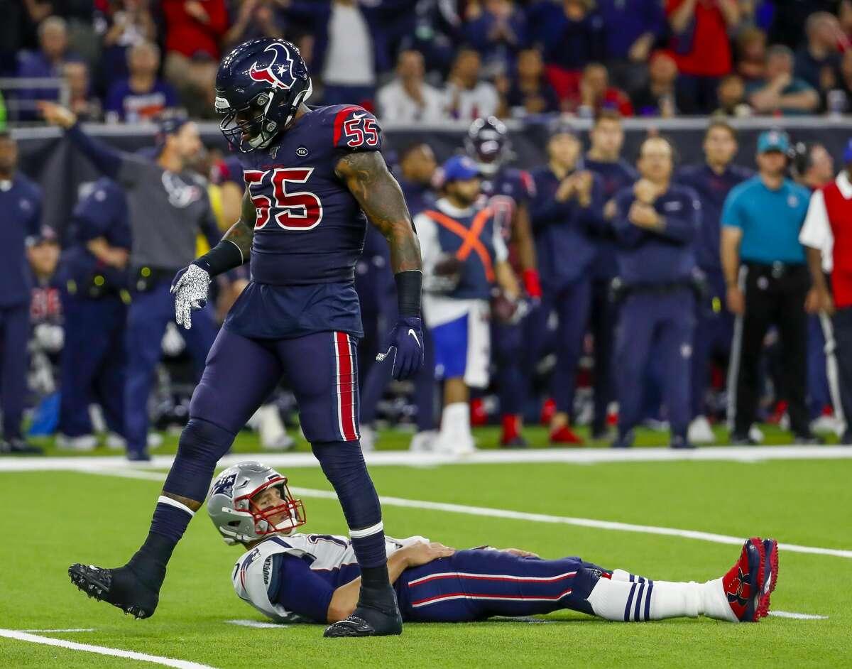 Houston Texans inside linebacker Benardrick McKinney (55) as New England Patriots quarterback Tom Brady (12) looks up after a play during the third quarter of an NFL football game at NRG Stadium on Sunday, Dec. 1, 2019, in Houston.
