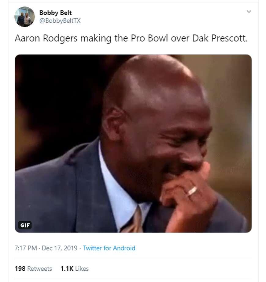 Twitter reacts to Cowboys quarterback Dak Prescott not making the Pro Bowl. Photo: Twitter