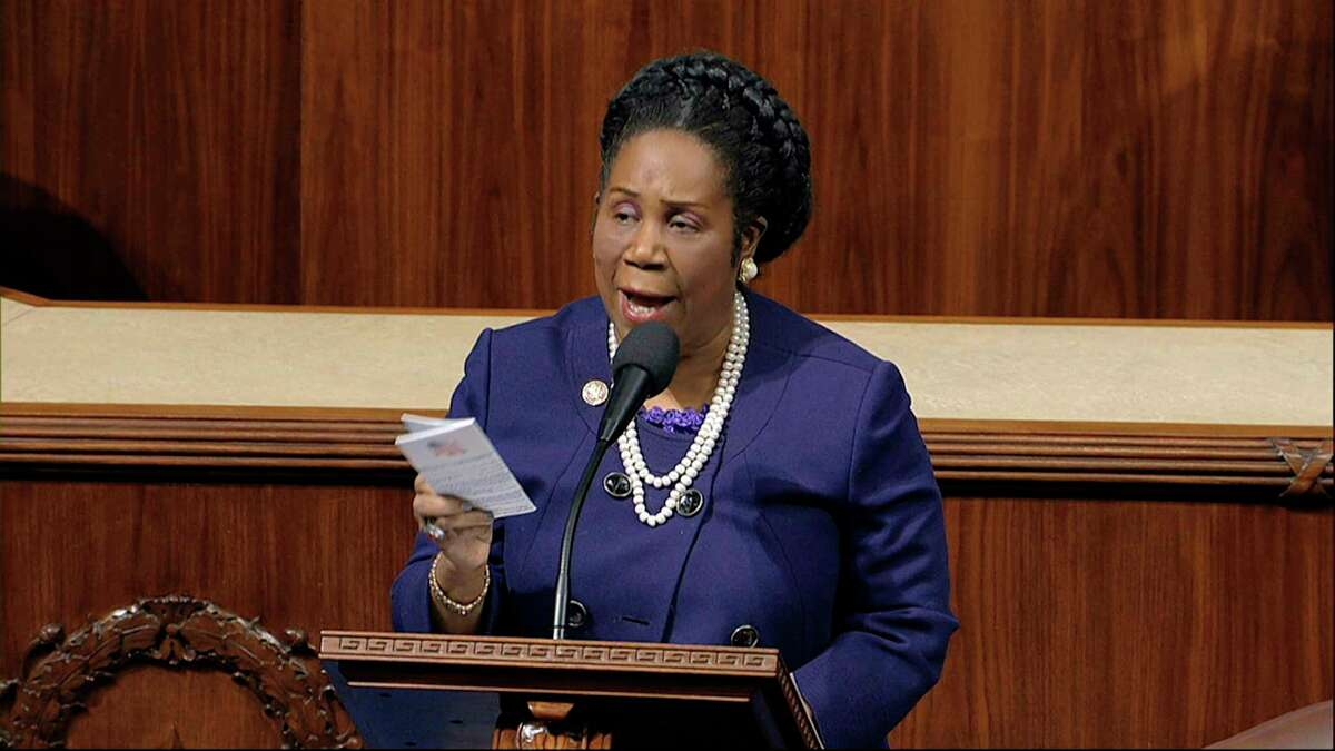 Rep. Shelia Jackson Lee, D-Texas speaks as the House of Representatives debates the articles of impeachment against President Donald Trump at the Capitol in Washington, Wednesday, Dec. 18, 2019. (House Television via AP)