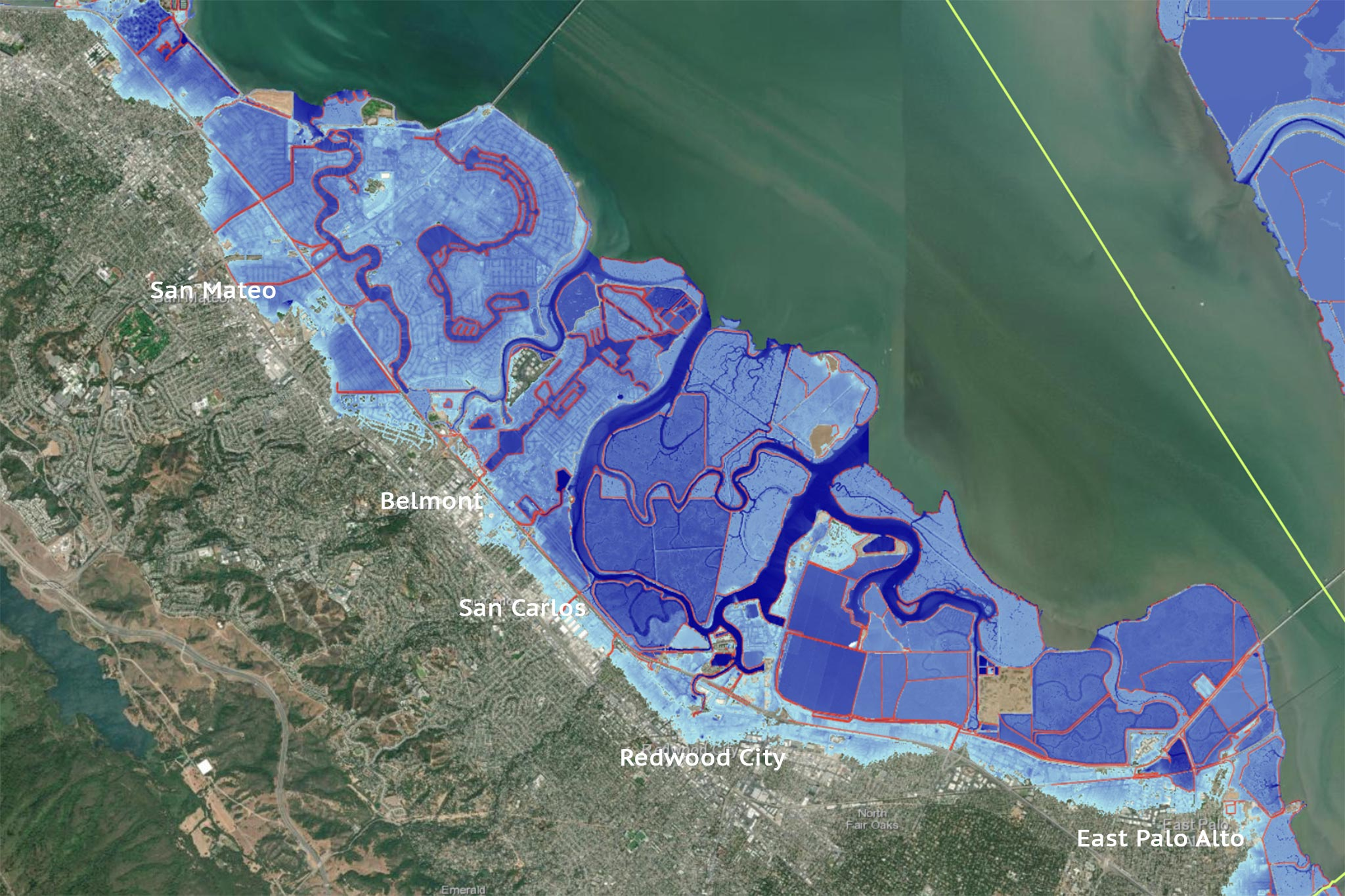 Map In New Study Shows Impact Of 4 Foot Sea Level Rise On San Francisco Bay Area Detailed satellite map of north bay , wisconsin showing roads, railway, airports, hotels, tourist attractions, educational institutions and other local areas. impact of 4 foot sea level rise