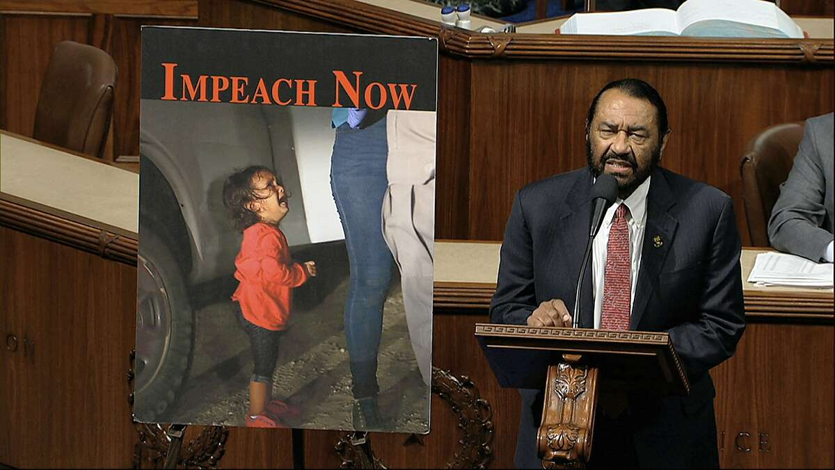Rep. Al Green, D-Texas, speaks as the House of Representatives debates the articles of impeachment against President Donald Trump at the Capitol in Washington, Wednesday, Dec. 18, 2019. (House Television via AP)