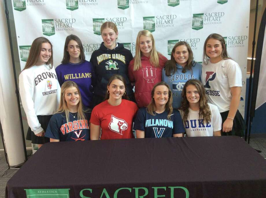 Sacred Heart Greenwich held a ceremony for its 10 Division I-bound collegiate athletes on Wednesday, December 18, 2019, in Greenwich. The athletes include, seating, left to right: Erin O'Connor (squash, Virginia), Carly Haines (golf, Louisville), Claire Chmiel (lacrosse, Villanova) and Katie Keller (lacrosse, Duke). Back row, standing, left to right: Ashley Giannetti (Brown, rowing), Emma Caruso (rowing, Williams), Isabella Rogers (rowing, Notre Dame), Paige Pucel (rowing, Indiana), Amelia Sheehan (North Carolina, lacrosse) and Morgan Smith (lacrosse, UPenn). Photo: /