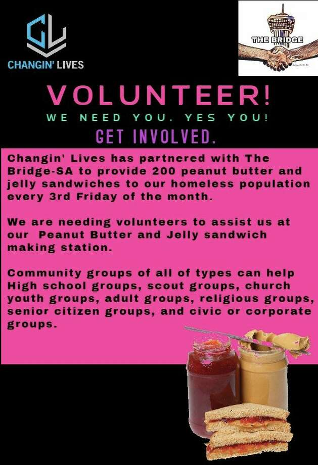 A local non-profit organization is looking for volunteers to help feed the homeless peanut butter and jelly sandwiches from 6 to 8 p.m. Friday in the parking lot at Christian Assistance Ministry, located at 110 McCullough Avenue. Photo: Changin' Lives