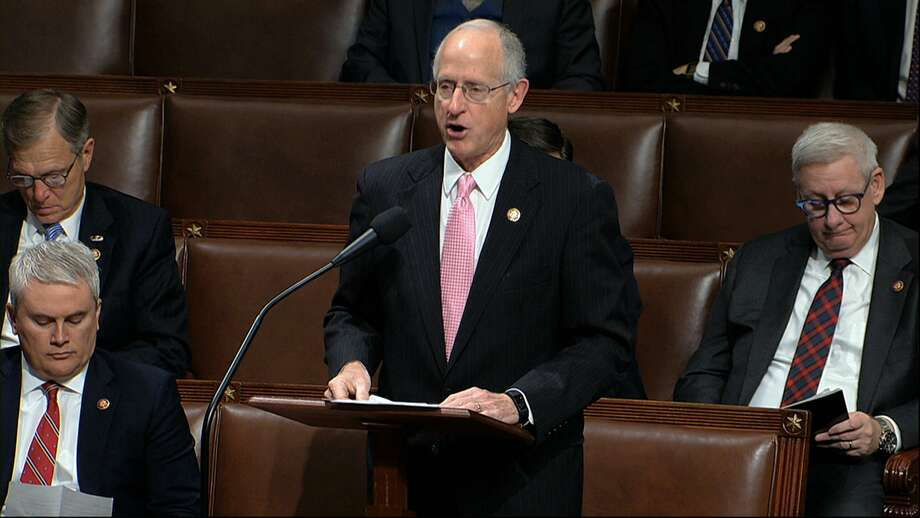 Rep. Mike Conaway, R-Texas, speaks as the House of Representatives debates the articles of impeachment against President Donald Trump at the Capitol in Washington, Wednesday, Dec. 18, 2019. (House Television via AP) Photo: Associated Press