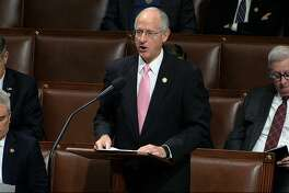 Rep. Mike Conaway, R-Texas, speaks as the House of Representatives debates the articles of impeachment against President Donald Trump at the Capitol in Washington, Wednesday, Dec. 18, 2019. (House Television via AP)