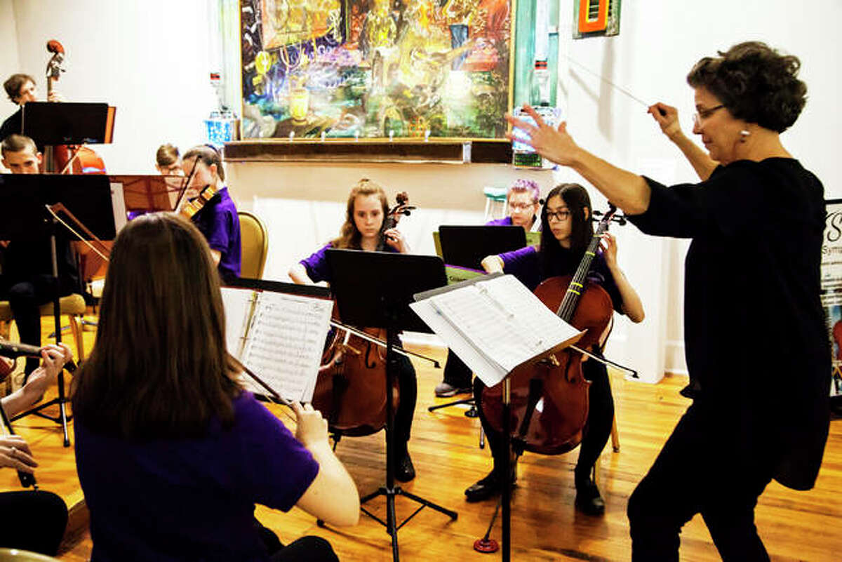 """The Alton Youth Symphony Chamber Group performs at Jacoby Arts Center in Alton during the """"Art is Inspirational"""" exhibition opening on Dec. 5."""