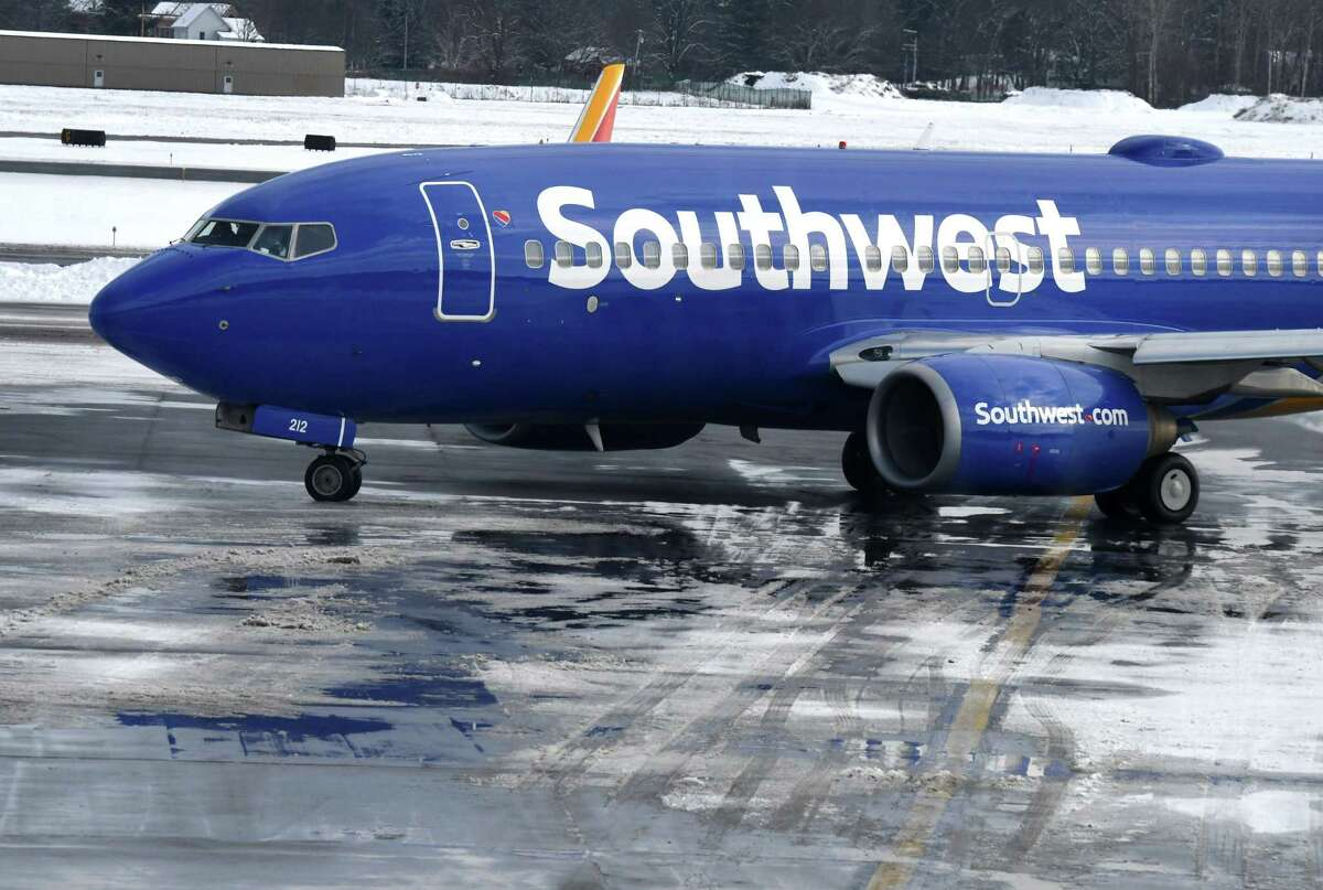 A Southwest Boeing 737-7H4 passenger jet departs from Albany International Airport on Wednesday, Dec. 18, 2019, in Colonie, N.Y. (Will Waldron/Times Union)