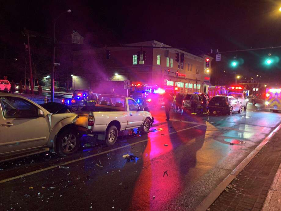 Police said the multi-vehicle crash happened on West Avenue, causing officials to shut down a stretch of the roadway Wednesday night. Photo: Contributed Photo / Norwalk Police Department