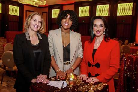 """EMBARGOED FOR SOCIETY REPORTER UNTIL DEC. 25  Chairs Laurel D'Antoni, from left, Nina Westbrook and Alicia Smith at the second annual """"Answering the Call"""" benefiting the St. Bernard Project at the Post Oak Hotel at Uptown, in Houston on December 17, 2019."""