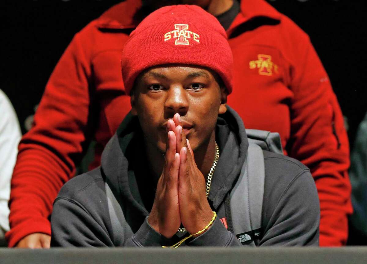 At Steele football signing day ceremony Daniel Jackson waits for family and friends before signing with Iowa State on Wednesday, December, 18, 2019