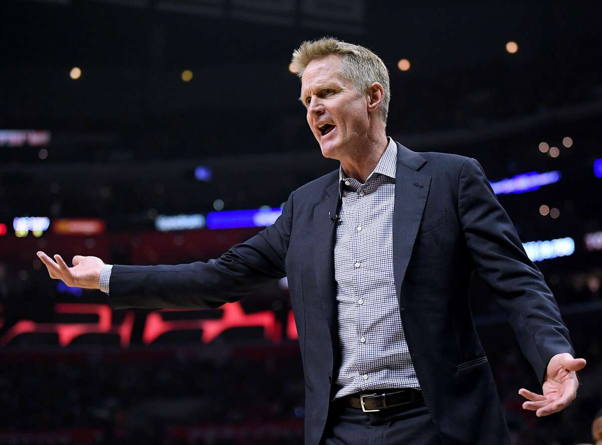 FILE PHOTO: Steve Kerr of the Golden State Warriors complains for a foul in the first half against the LA Clippers during Game Two of Round One of the 2019 NBA Playoffs at Staples Center on April 18, 2019 in Los Angeles. Kerr says he regrets his previous dodging of questions related to China, and should have more forcefully defended Houston Rockets general manager Daryl Morey's right to free speech during a recent interview with the Washington Post.