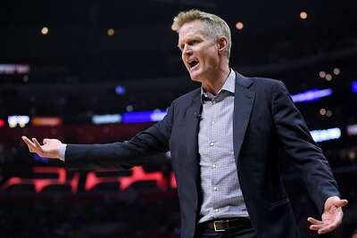 LOS ANGELES, CALIFORNIA - APRIL 18: Steve Kerr of the Golden State Warriors complains for a foul in the first half against the LA Clippers during Game Two of Round One of the 2019 NBA Playoffs at Staples Center on April 18, 2019 in Los Angeles, California. (Photo by Harry How/Getty Images) NOTE TO USER: User expressly acknowledges and agrees that, by downloading and or using this photograph, User is consenting to the terms and conditions of the Getty Images License Agreement.