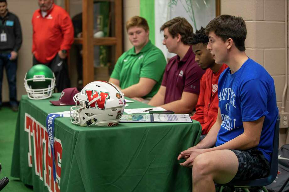Woodlands football players are recognized during a National Signing Day ceremony at Woodlands High School, Wednesday, Dec. 18, 2019, in the Woodlands. Photo: Gustavo Huerta, Houston Chronicle / Staff Photographer / Houston Chronicle