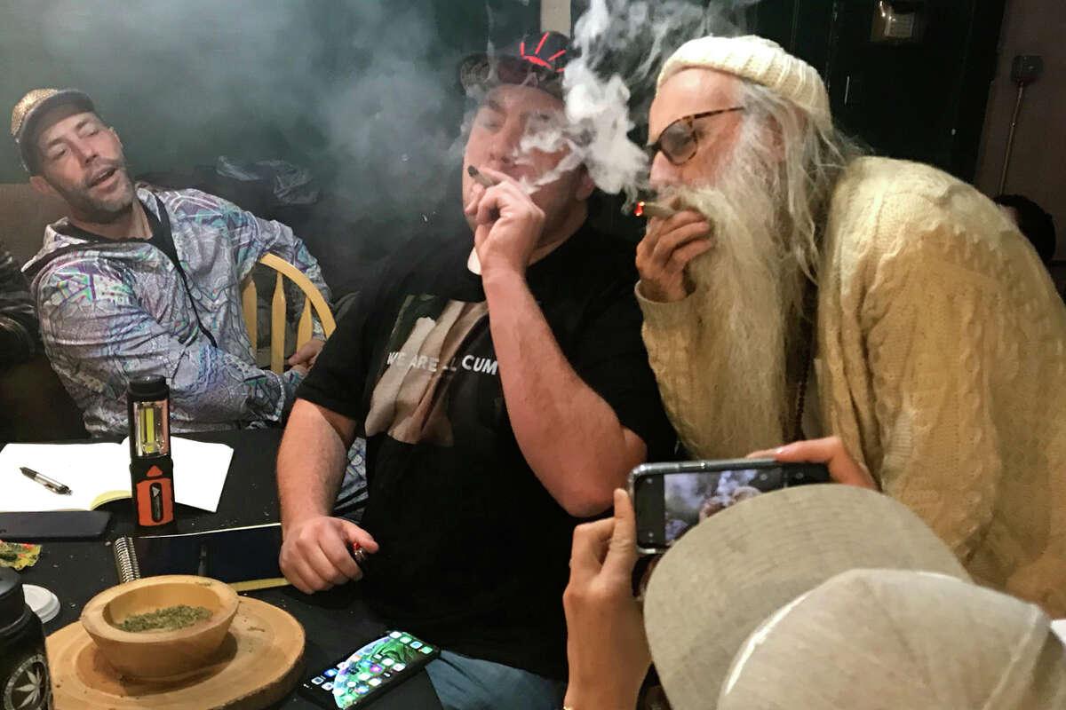 Swami Chaitanya judges cannabis strains at the Emerald Cup 2019.