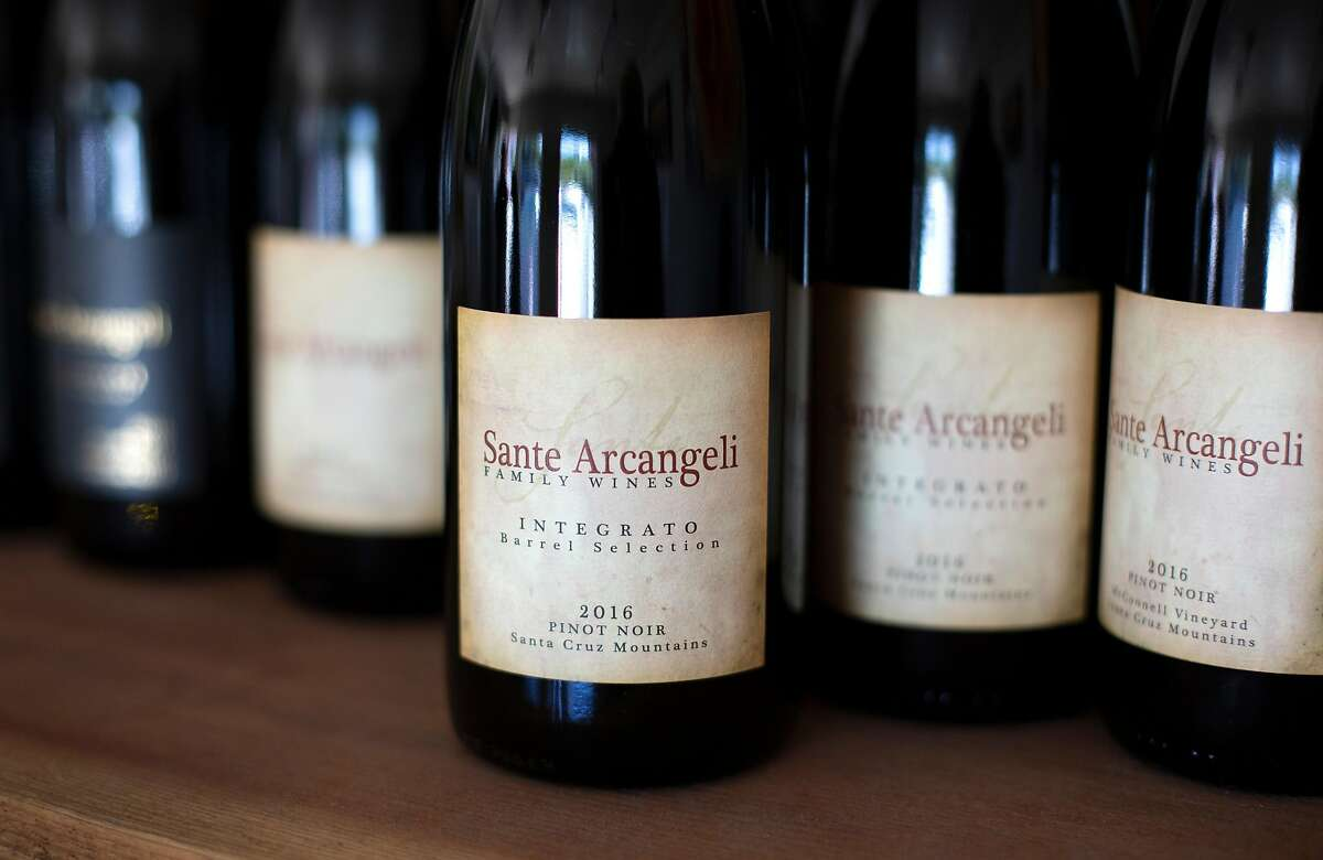 Several pinot noirs are available to try at Sante Arcangeli Family Wines' tasting room in Pescadero, Calif. on Saturday, June 23, 2018.