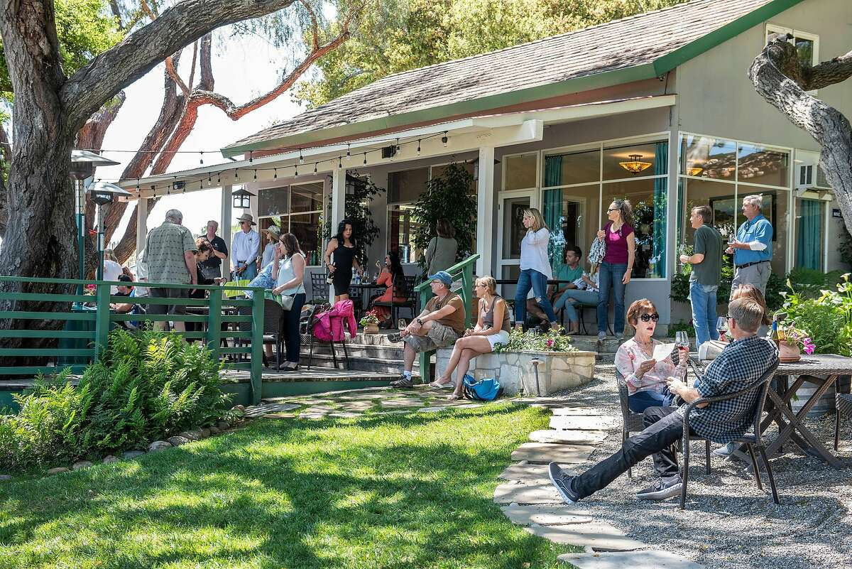 The patio outside the Rusack Vineyards tasting room in Santa Barbara County, seen in 2019.