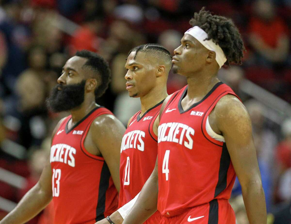 Professional limbo is at two weeks and counting for the Rockets' James Harden, from left, Russell Westbrook and Danuel House Jr.