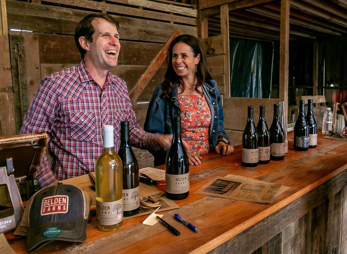 Nate and Lauren Belden at Belden Barns winery in Santa Rosa, Calif. are seen on November 10th, 2018.