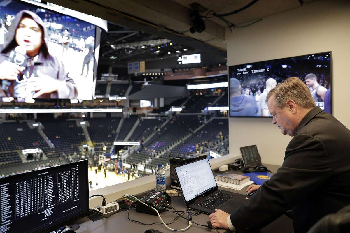 Warriors radio play-by-play announcer Tim Roye, on his 25th season with the team as he prepares to call the game between the Warriors and the New York Knicks at Chase Arena in San Francisco, Calif., on Wednesday, December 11, 2019.