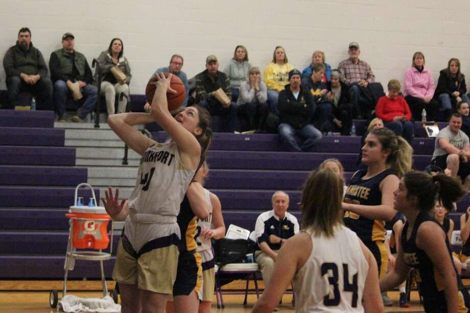 Emily Loney goes up for a layup during the first half of Frankfort's win over Manistee. Photo: Robert Myers