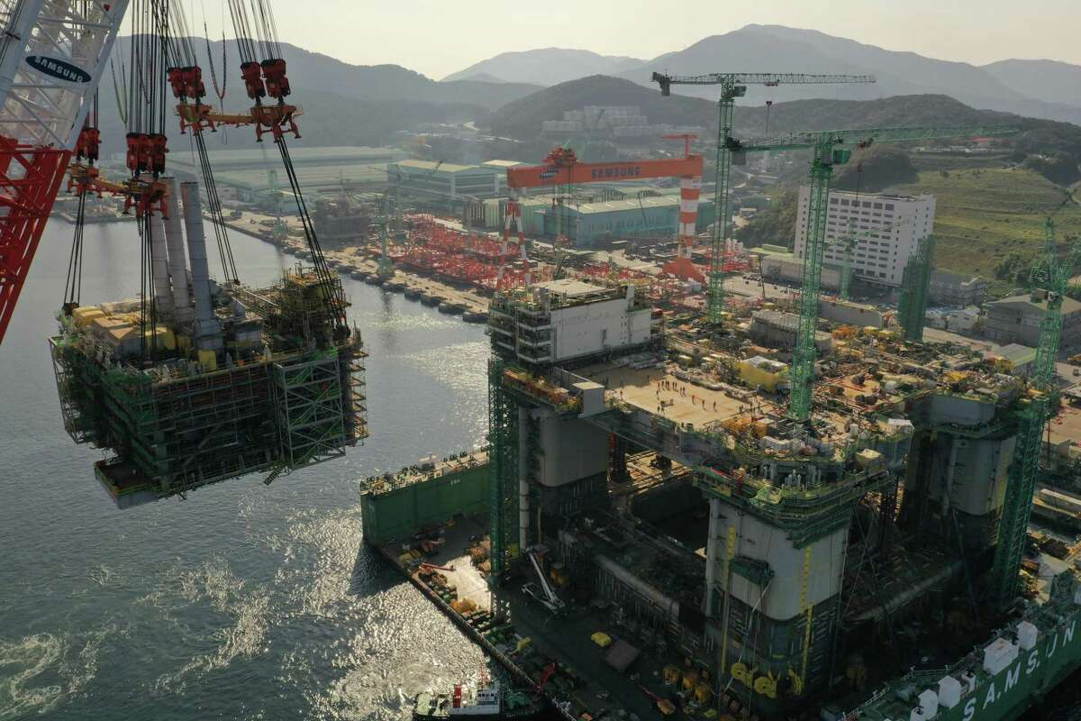 BP's Argos platform is being built by Samsung Heavy Industries in South Korea. The platform is the centerpiece of BP's $9 billion Mad Dog Phase 2 project and will set sale for the Gulf Coast this fall. The platform will begin oil production in the deepwater Gulf in 2021.
