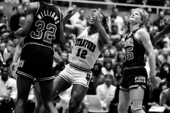 March 1 ,1984: Steve Kerr, right, visits the Stanford Cardinals during Kerr's freshman year on the Arizona Wildcats basketball team.