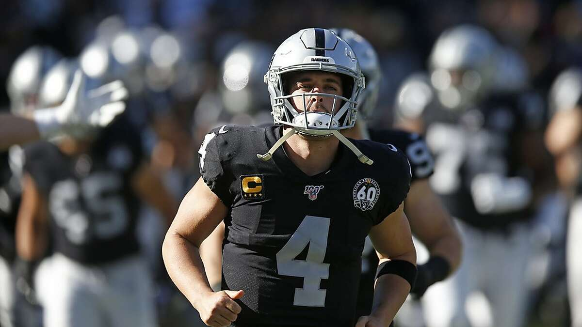 Oakland Raiders quarterback Derek Carr during the first half of an NFL football game in Oakland, Calif., Sunday, Dec. 15, 2019. (AP Photo/D. Ross Cameron)