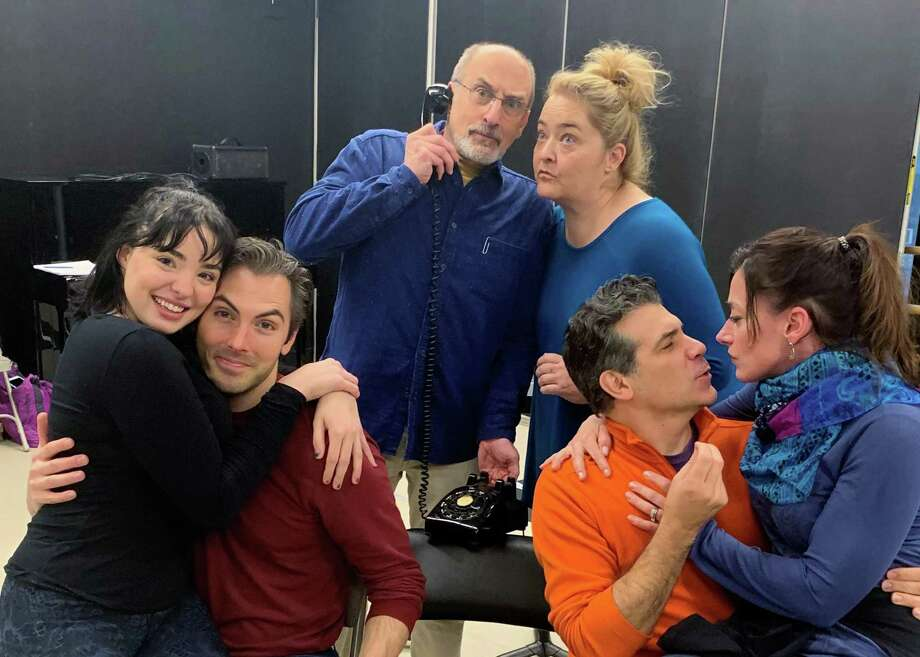 """""""Lend Me a Tenor"""" will be onstage at Westchester Broadway Theatre in Elmsford, N.Y., Jan. 3 - 26. From left at rehearsal are J.D. Daw as Max, Molly McCaskill as Maggie, Phillip Hoffman as Saunders, Tregoney Shepherd as Julia, Joey Sorge as Tito and Kathy Voytko as Maria. Photo: Bill Stutler / Contributed Photo"""