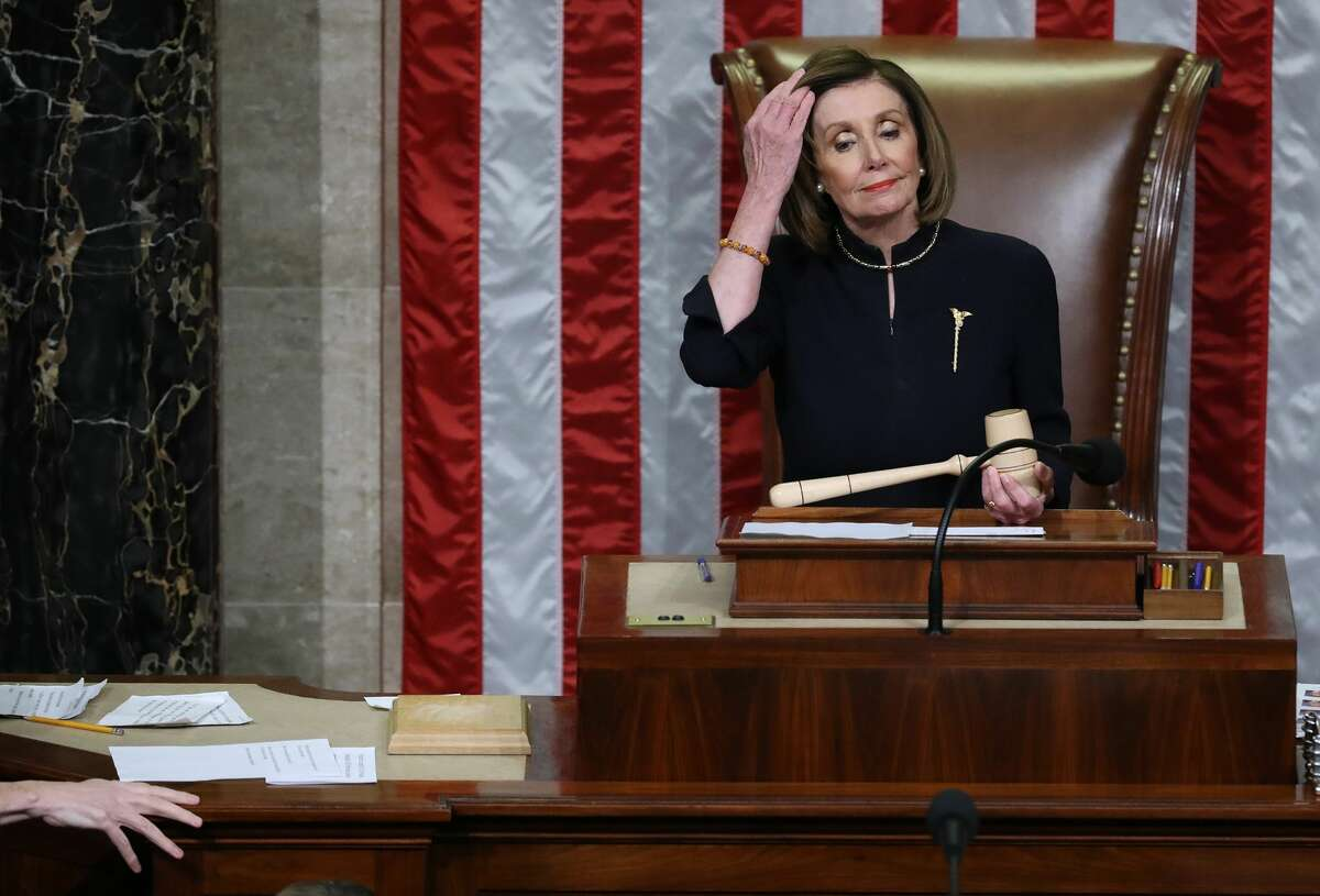 Speaker of the House Nancy Pelosi (D-CA) presides over the House of Representatives as they vote on the second article of impeachment of U.S. President Donald Trump at in the House Chamber at the U.S. Capitol December 18, 2019 in Washington, DC. The U.S. House of Representatives voted to successfully pass two articles of impeachment against President Donald Trump on charges of abuse of power and obstruction of Congress. (