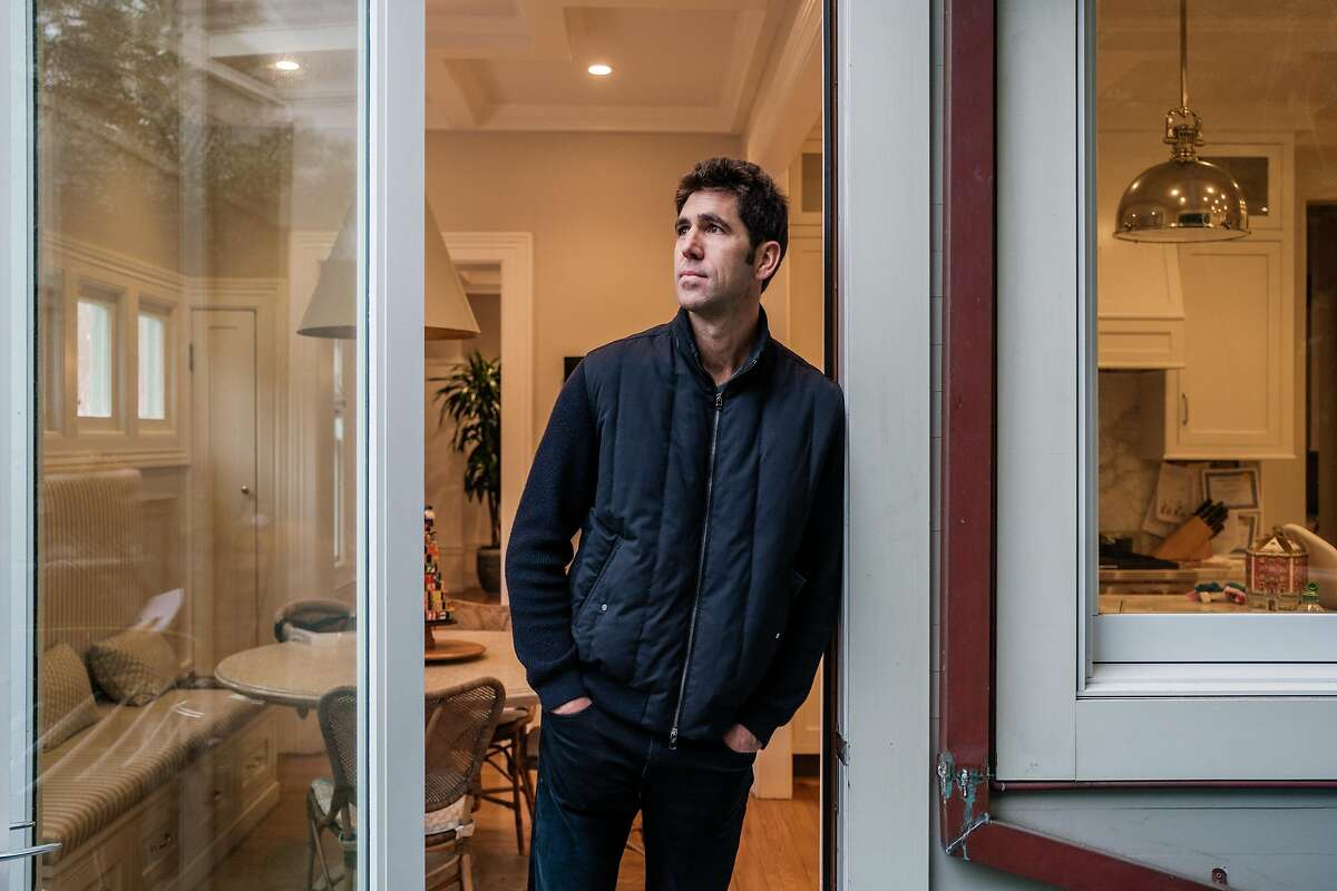 Bob Myers, GM of the Warriors, poses for a photograph at his home in San Francisco.