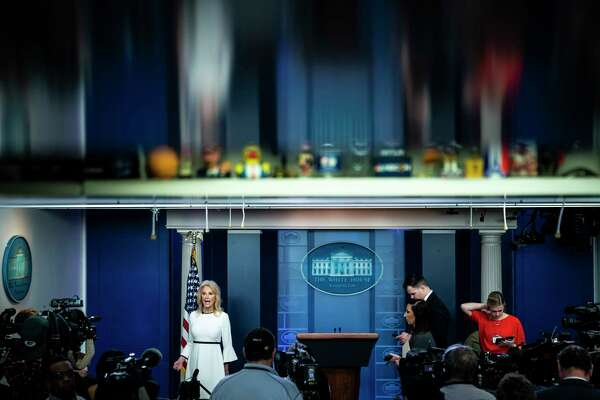 Counselor to the President Kellyanne Conway speaks in the briefing room at the White House on Wednesday.