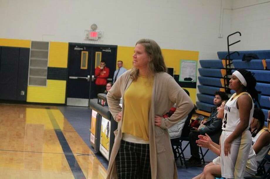 Baldwin coach Nikki Bergman watches the action from the sidelines on Wednesday. (Pioneer photo/John Raffel)