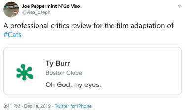 Hilarious memes pour in as movie critics shred \u0027Cats\u0027 in