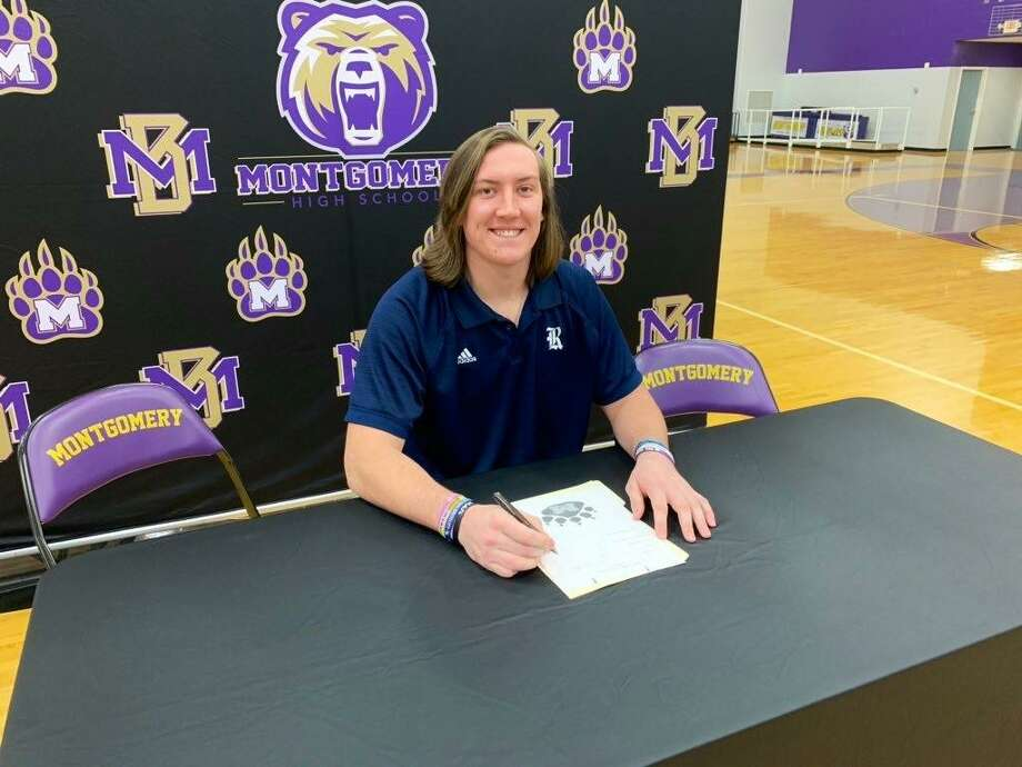 Montgomery offensive lineman Trey Phillippi celebrated his signing with Rice University on Thursday morning. Photo: Jon Poorman