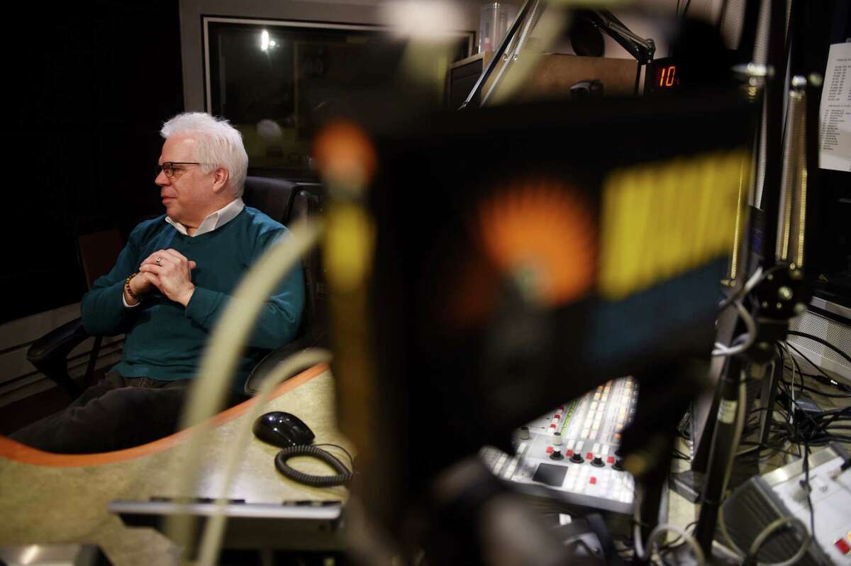 Brian Shields, longtime WAMC anchor and reporter, is interviewed at the WAMC studios on Thursday, Dec. 19, 2019, in Albany, N.Y. Shields is retiring after more than two decades at the station. (Will Waldron/Times Union)