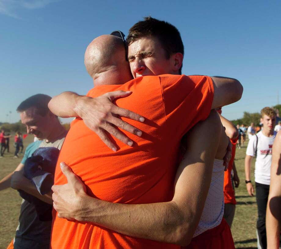 Ryan Schoppe of La Porte reacts after breaking the state Class 6A 5K record with his run in 14 minutes and 14.02 seconds during the University Interscholastic League state cross country championships on Nov. 8 in Round Rock. Photo: Jason Fochtman, Houston Chronicle / Staff Photographer / Houston Chronicle