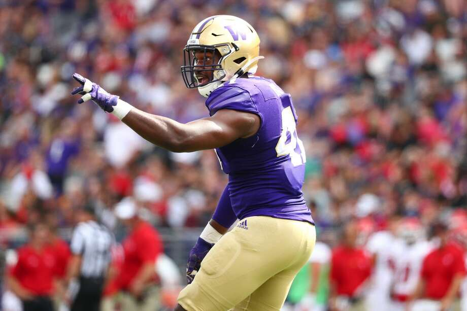 SEATTLE, WASHINGTON - AUGUST 31: Myles Rice #41 of the Washington Huskies celebrates in the third quarter against the Eastern Washington Eagles during their game at Husky Stadium on August 31, 2019 in Seattle, Washington. (Photo by Abbie Parr/Getty Images) Photo: Abbie Parr/Getty Images