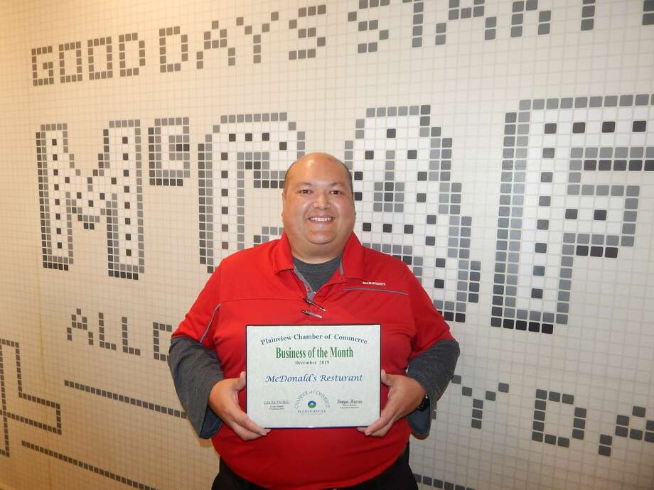 Supervisor John Sena accepted the Business of the Month award on behalf of McDonald's. Photo: Courtesy Photos/Plainview Chamber Of Commerce