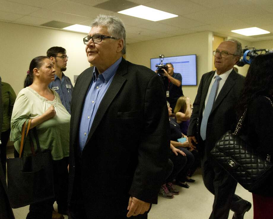 Former priest Manuel La Rosa-Lopez walks toward the 435th state District Court of Judge Patty Maginnis for a hearing, Thursday, Sept. 26, 2019, in Conroe. Photo: Jason Fochtman/Staff Photographer