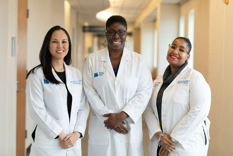 New doctors practicing with Kelsey-Seybold Clinics include, from left, Pauline Scott, M.D., Dermatology, Cypress Clinic; Kemi Sells, licensed clinical social worker, Behavioral Medicine, Meyerland Plaza Clinic; and Dionne Rideau, Radiation Oncology, Berthelsen Main Campus. Photo: Kelsey-Seybold Clinics