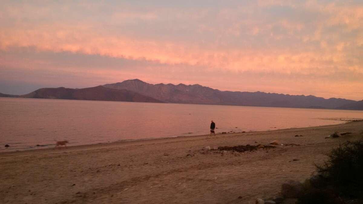 On the beach at sunset, Bahia de Los Angeles, Baja.