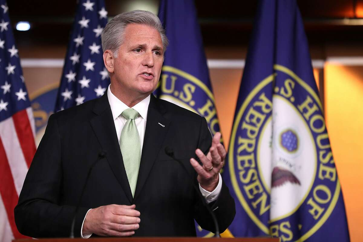 WASHINGTON, DC - DECEMBER 19: House Minority Leader Kevin McCarthy (D-CA) holds his weekly news conference at the U.S. Capitol December 19, 2019 in Washington, DC. McCarthy said that he believed that Speaker of the House Nancy Pelosi (D-CA) was 'embarrassed' about the House's vote to impeach President Donald Trump and that passage of a federal budget and the vote on the U.S.-Mexico-Canada free trade agreement were not examples of bipartisanship. (Photo by Chip Somodevilla/Getty Images)
