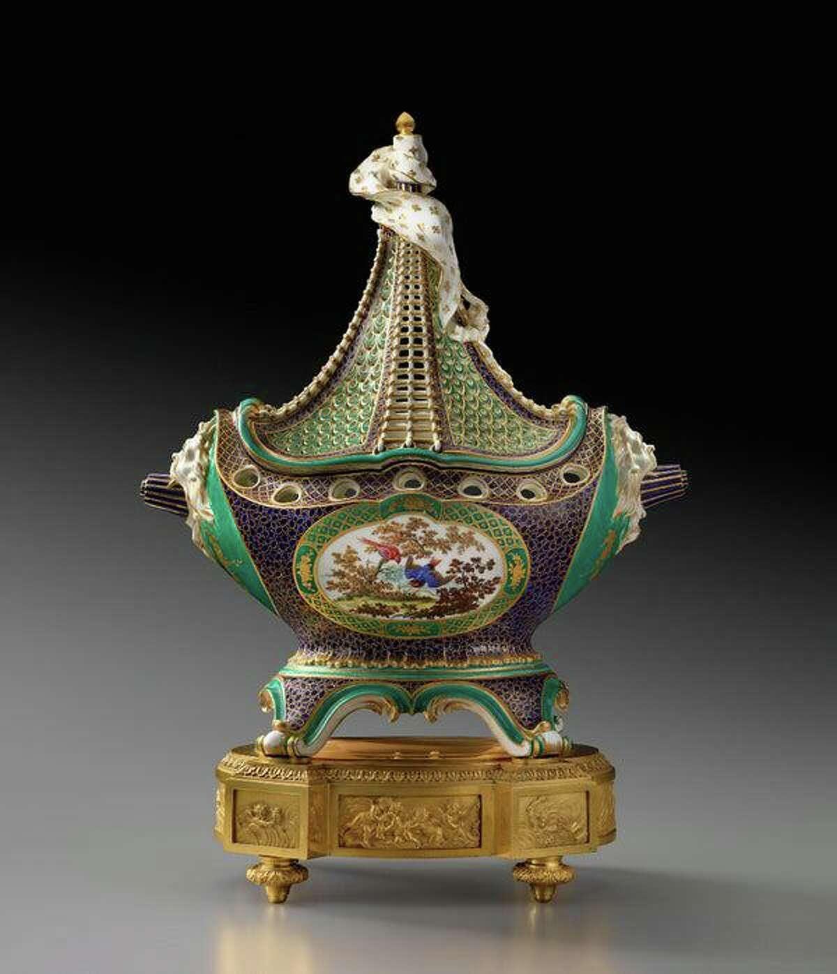 Potpourri vase (pot-pourri à vaisseau), soft-paste porcelain from Sèvres Porcelain Manufactory, modeled by Jean-Claude Duplessis, ca. 1759.