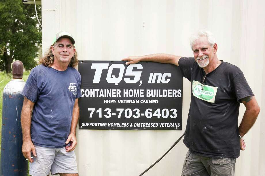 JR Harris and Mark Cook, of Green Zone Housing and TQS Container Home Builders, pose for a photo on Tuesday, July 10, 2018, in Willis. Photo: Michael Minasi, Staff Photographer / Houston Chronicle / © 2018 Houston Chronicle