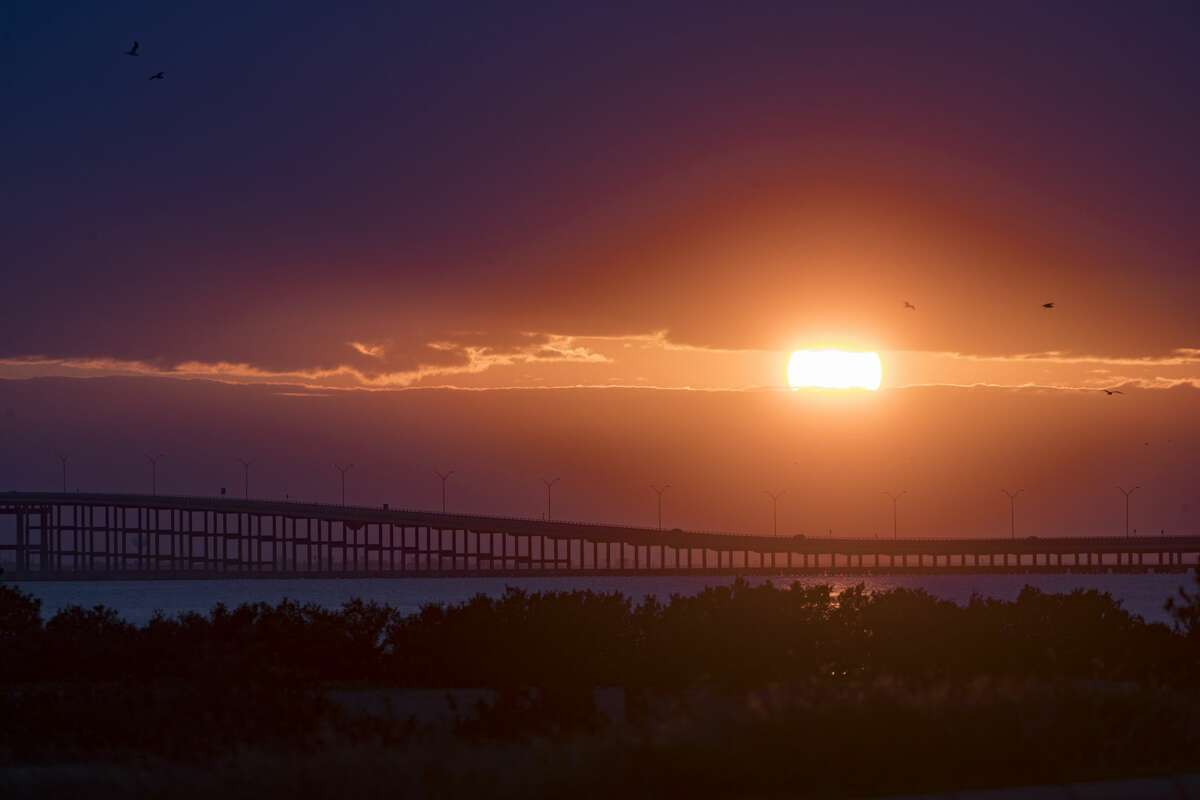 View of the Queen Isabella Memorial Bridge at sunset on Thursday, March 21, 2019, in South Padre Island.