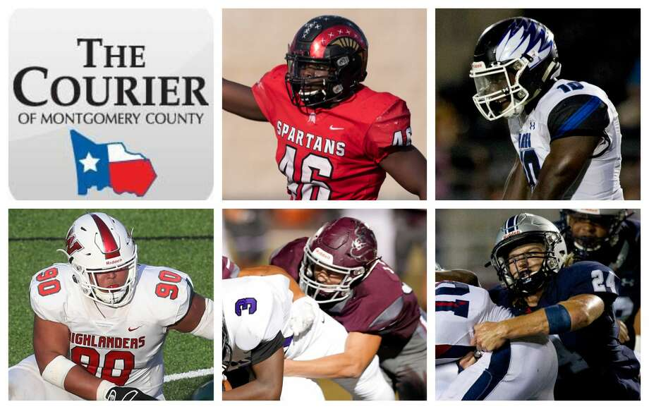 Porter's Zhyon Bell, New Caney's Derrick Harris Jr., The Woodlands' Caleb Fox, Magnolia's Jarrett Pleasant and College Park's Dylan Hazen are The Courier's nominees for Defensive MVP. Photo: Staff Photos