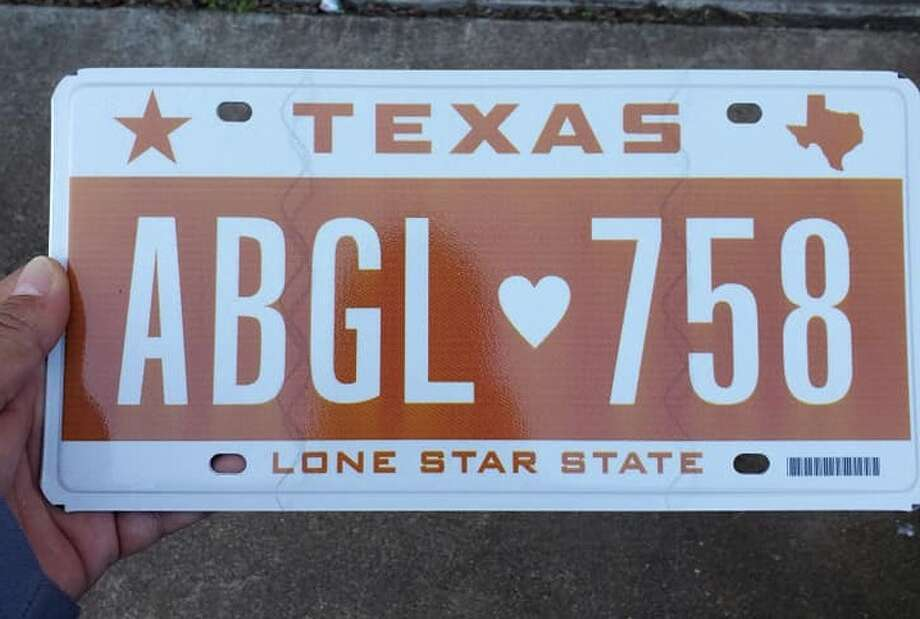The plates read: ABGL 758, with a heart separating the words. 758 was Officer Abigail's badge number.  She was sworn-in as an honorary officer of the Freeport Police Department. Several other law enforcement agencies across the state and country also recognized her bravery in her fight against cancer. Photo: Ruben Arias/Facebook